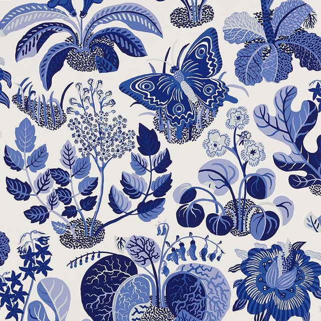 Sample - Schumacher Exotic Butterfly Luxe Wallpaper in Marine Blue For Sale