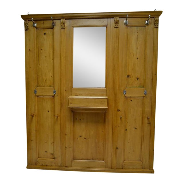 Pine Paneled Hallstand With Mirror For Sale