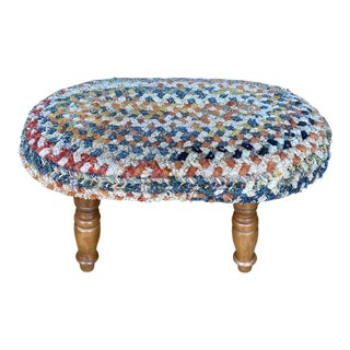 Vintage Rustic Woven Footstool** For Sale