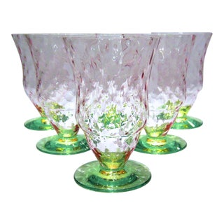 Pink & Green Watermelon Glass Tumblers - Set of 6 For Sale