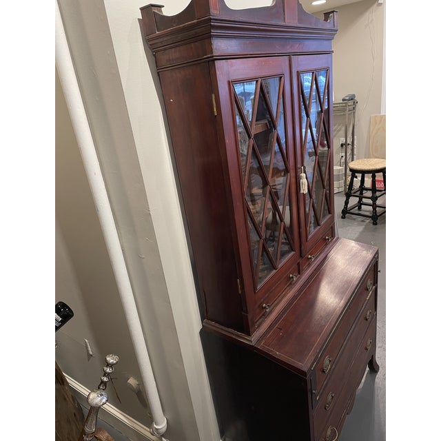 Brown 19th Century Federal Mahogany Two Part Secretary Desk For Sale - Image 8 of 10