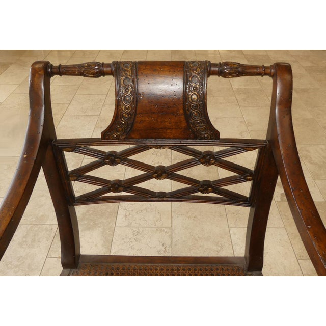 Caning John Richard Traditional Cane Seat Regency Armchairs- a Pair For Sale - Image 7 of 13