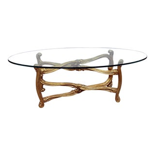Hollywood Regency Glass Top Coffee Table For Sale