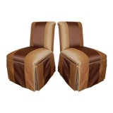 Image of Pair of Vintage Armless Striped Slipper Chairs c. 1940 For Sale