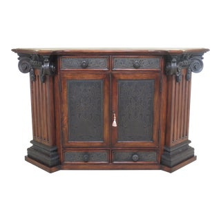 Theodore Alexander European Style Bronze & Mahogany Console Cabinet For Sale