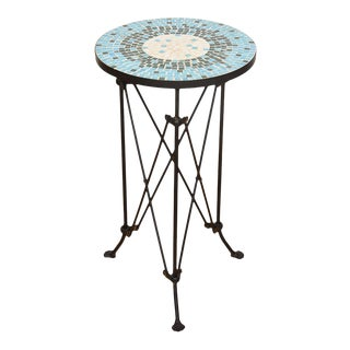 Wrought Iron Mid Century Mosaic Tile Top Accent Table For Sale