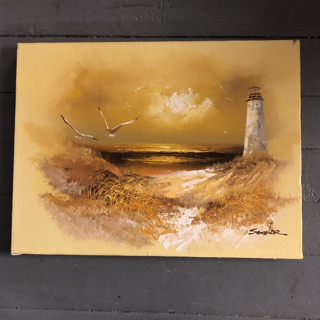 Original Vintage 1960's Seascape Painting With Lighthouse & Seagulls Signed For Sale In Philadelphia - Image 6 of 6