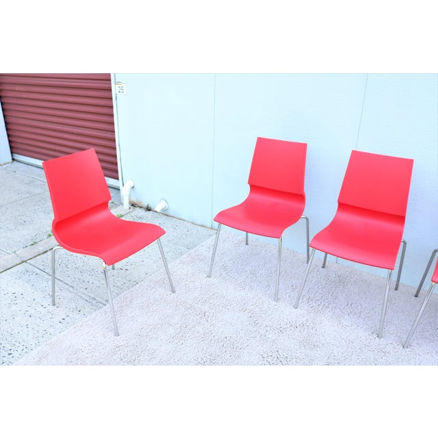 2010s Italian Modern Marco Maran for Maxdesign Red Ricciolina Dining Chairs - Set of 6 For Sale - Image 5 of 13