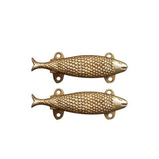 Brass Fish Door Handles - a Pair For Sale