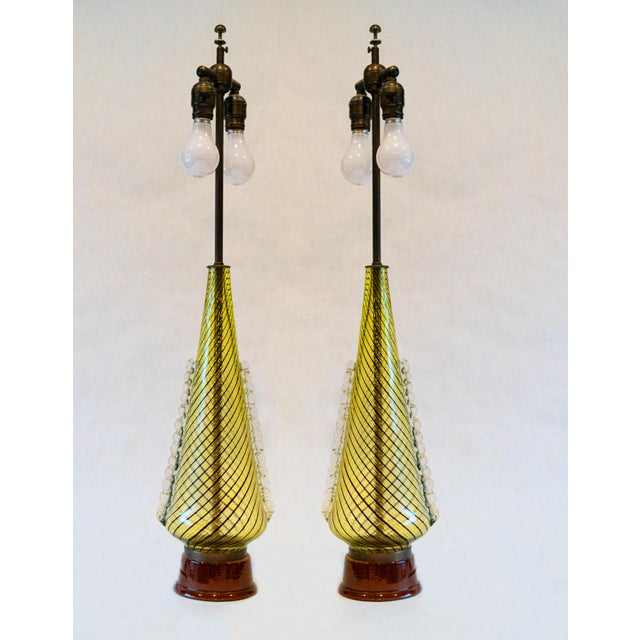 Yellow 1950s Dino Martens (For Aureliano Toso) Murano Glass Table Lamps - a Pair For Sale - Image 8 of 8