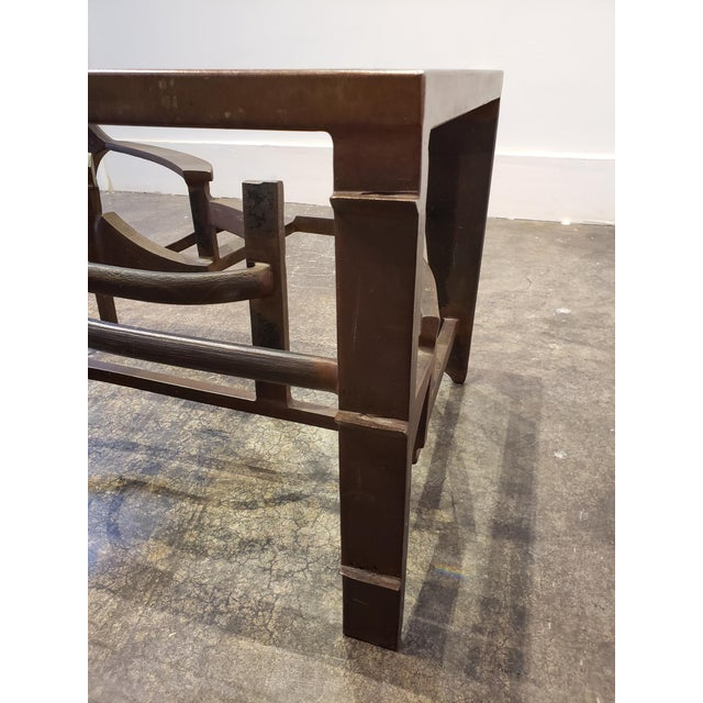 Artisan Crafted Iron and Glass Table Postmodern Brutalist For Sale In Dallas - Image 6 of 8