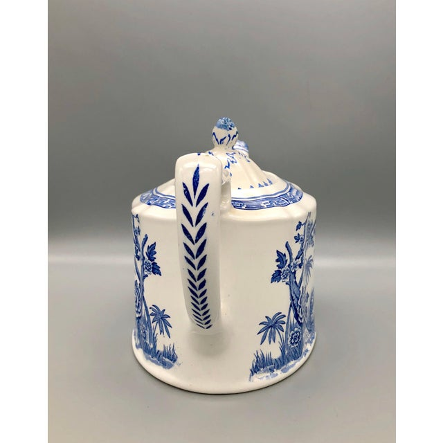 Blue and White Furnivals Quail 1913 Pottery Teapot, Creamer and Sugar Bowl Set For Sale - Image 12 of 13
