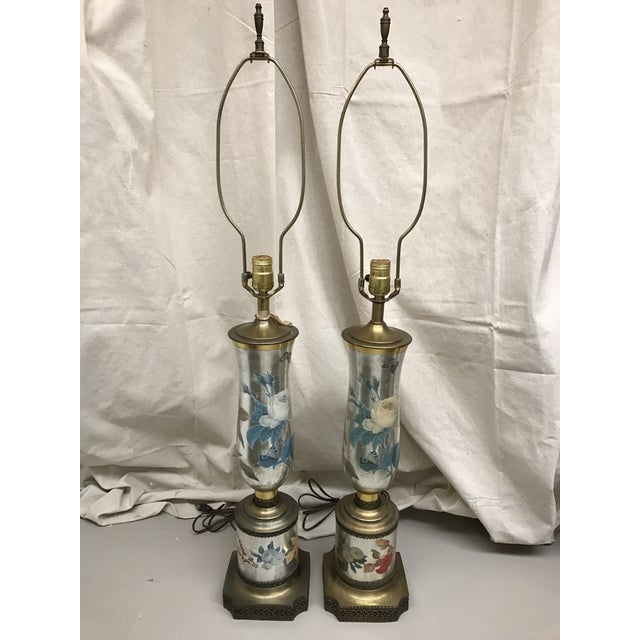 Vintage Mercury Glass Mid-Century Gold Mirrored Floral Lamps - Image 2 of 6
