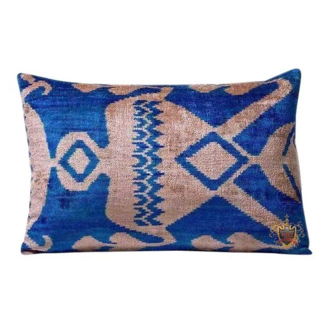 Boho Chic Vintage Royal Blue Silk Velvet Ikat Accent Pillow For Sale - Image 3 of 3