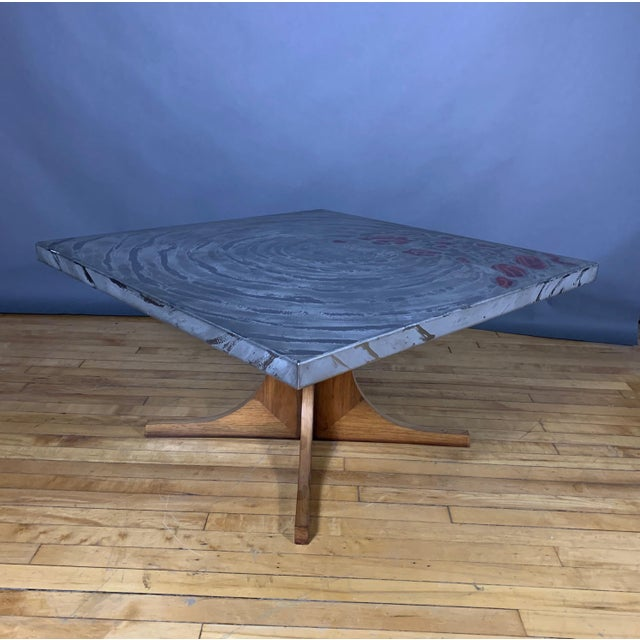 Heinz Lilienthal (Attr.) Aluminium Relief Coffee Table, 1970s For Sale - Image 9 of 9