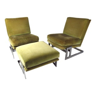 Vintage Milo Baughman Lounge Chairs and Ottoman for Thayer Coggin For Sale