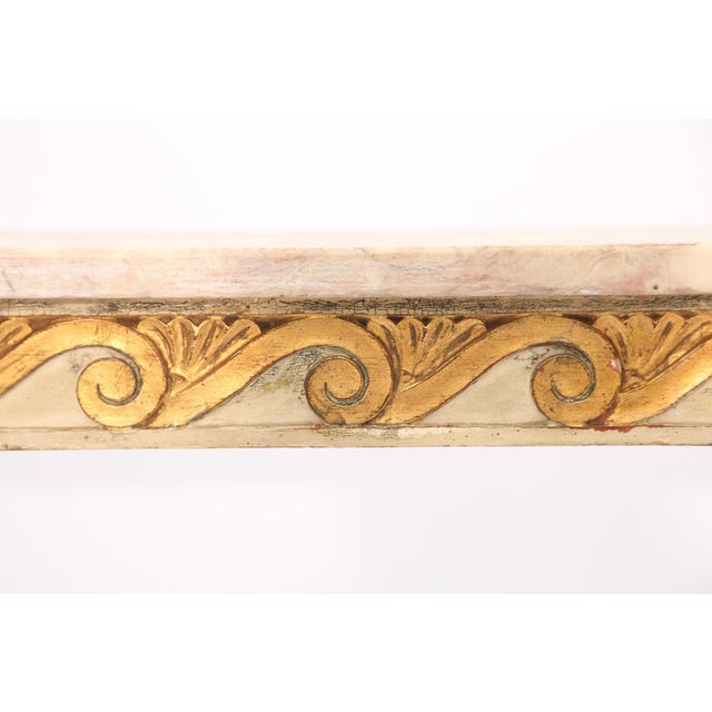 Mid 20th Century Long and Narrow Italian Parcel-Gilt Marble-Top Console With Scrolling Wave Apron For Sale - Image 5 of 8