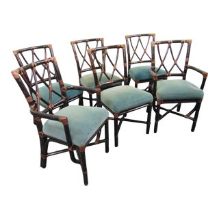 McGuire Bamboo & Leather Dining Chairs - Set of 6 For Sale