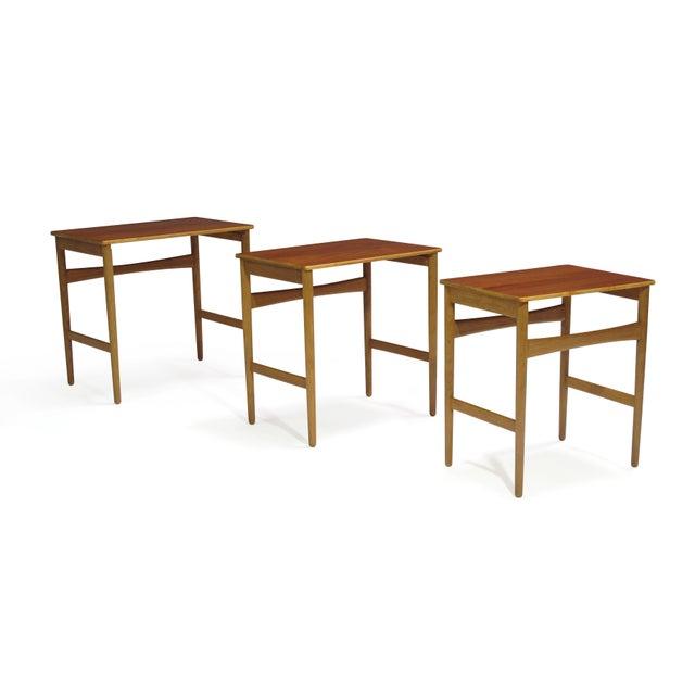 Hans Wegner Teak and Oak Danish Nesting Side Tables - Set of 3 For Sale - Image 11 of 11