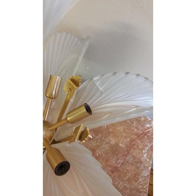 Art Deco Italian Brass & Satin Glass Chandelier - Image 7 of 11