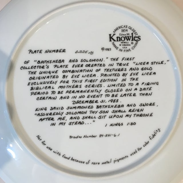 Bathsheba and Solomon Knowles China Plate For Sale - Image 4 of 7