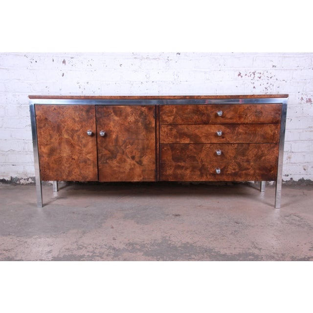 Tomlinson Mid-Century Modern Burl Wood and Chrome Sideboard Credenza, 1970s For Sale - Image 13 of 13