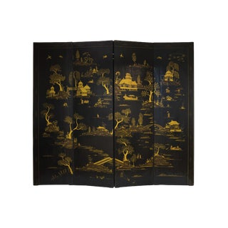 20th Century Four-Panel Chinoiserie Gilt Painted Folding Screen For Sale