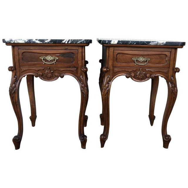 19th Century Pair of French Louis XV Carved Nightstands For Sale - Image 12 of 12