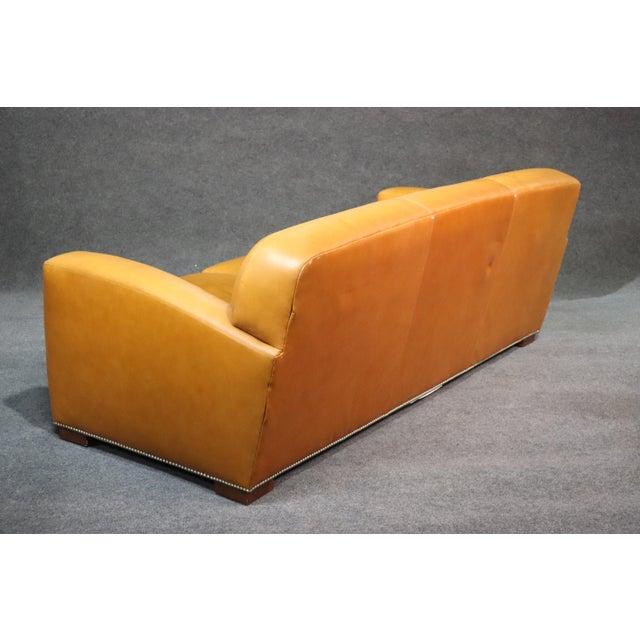 Ralph Lauren Ralph Lauren Art Deco Style Leather Sofa For Sale - Image 4 of 11
