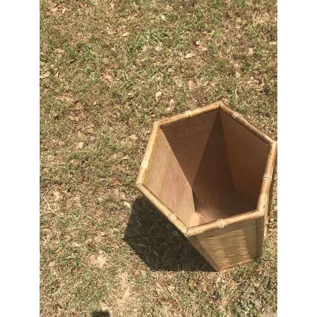 Rolling Woven Bamboo Pedestal Plant Stand For Sale - Image 10 of 10