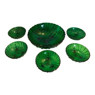 1940s Mid-Century Modern Emerald Green Depression Glass Salad Serving Set - Set of 6 For Sale