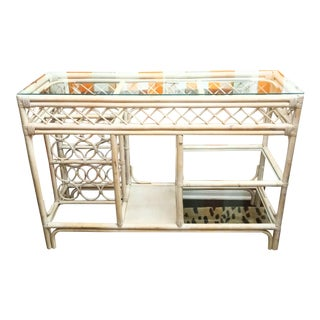 Vintage Rattan Glass Top Indoor Outdoor Console Table Dry Bar For Sale