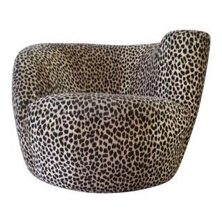 Vladimir Kagan Nautilus Swivel Covered in a Cheetah Velvet For Sale