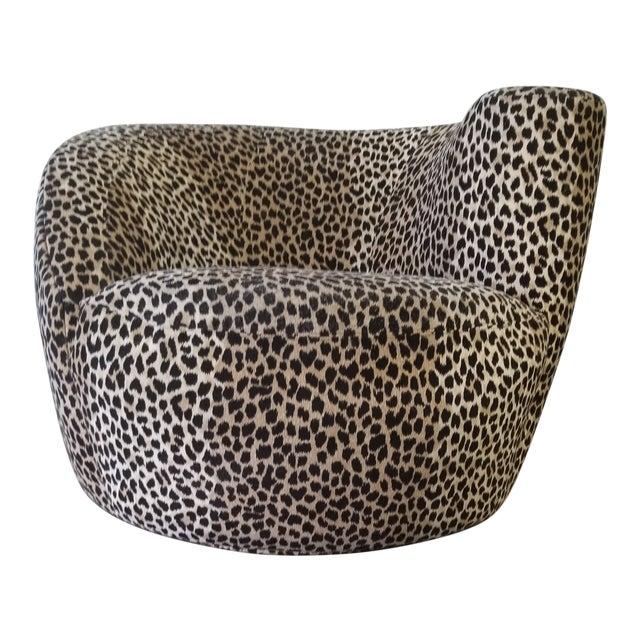 Vladimir Kagan Nautilus Swivel Covered in a Cheetah Velvet For Sale