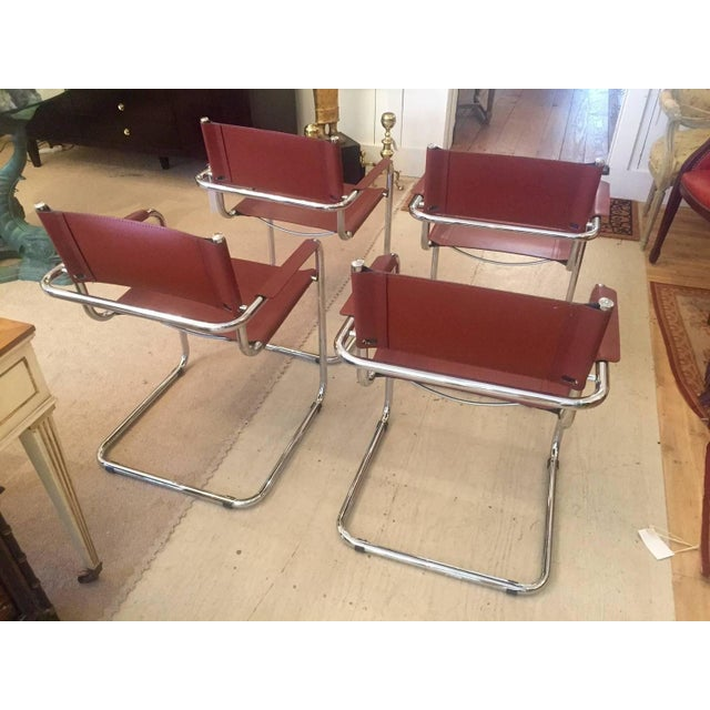 Cognac Leather and Chrome Armchairs - Set of 4 - Image 5 of 7