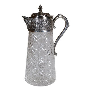 1920s Silver Plated and Crystal Carafe Decanter For Sale