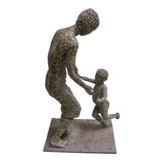1940s Vintage Mother and Child Metal Cast Iron With Bronze Sculpture For Sale