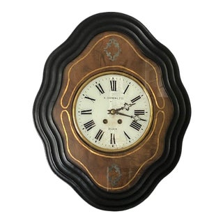 French Windup Wall Clock With Time Chime For Sale