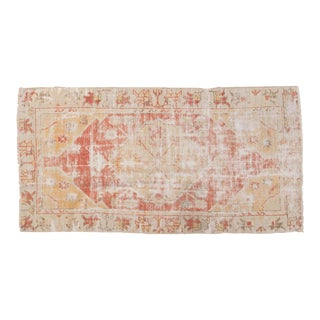 "Vintage Distressed Oushak Rug Runner - 2'5"" x 4'8"" For Sale"