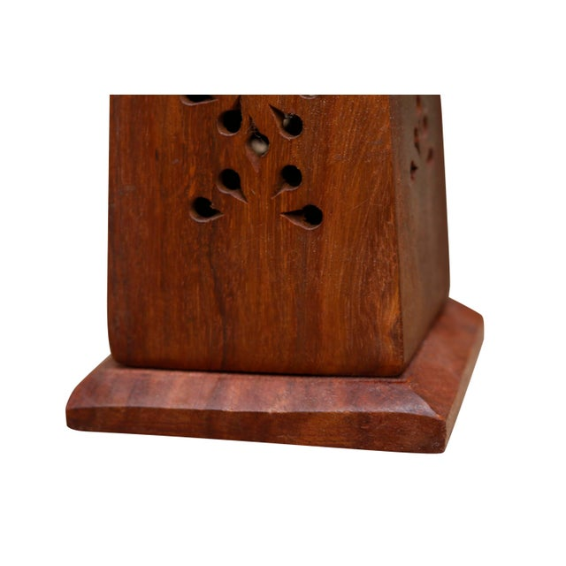 Wooden Incense Burner Towers With Brass Star Inlay, a Pair For Sale - Image 4 of 6