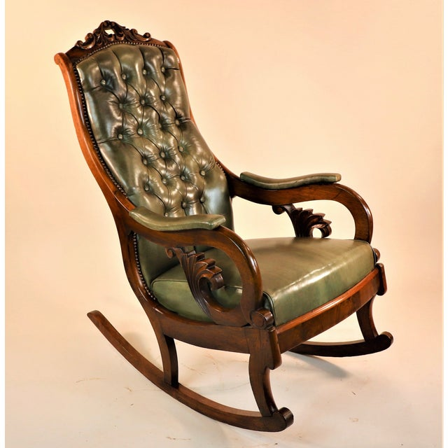 1830s English William IV Mahogany & Leather Rocking Chair For Sale - Image 13 of 13
