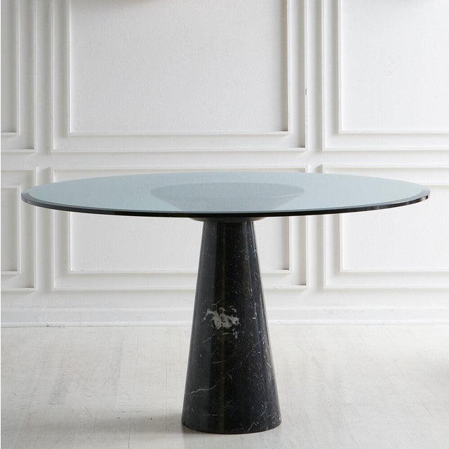 Nero Marquina Marble Dining Table With Glass Top by Angelo Mangiarotti For Sale - Image 9 of 9
