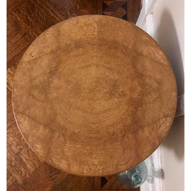 Vintage Milo Baughman Style Burl Drum Table - Image 5 of 5