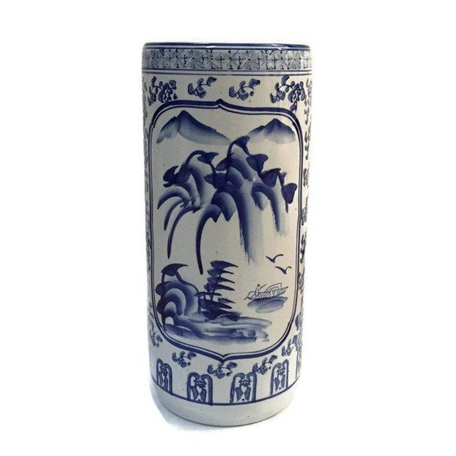 "Vintage Chinoiserie Umbrella Stand Cobalt Blue White Chinese Porcelain 18"" For Sale - Image 11 of 11"