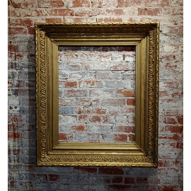 Gold 19th Century Large Ornate Carved Gilt Wood Frame - C1860s For Sale - Image 8 of 8