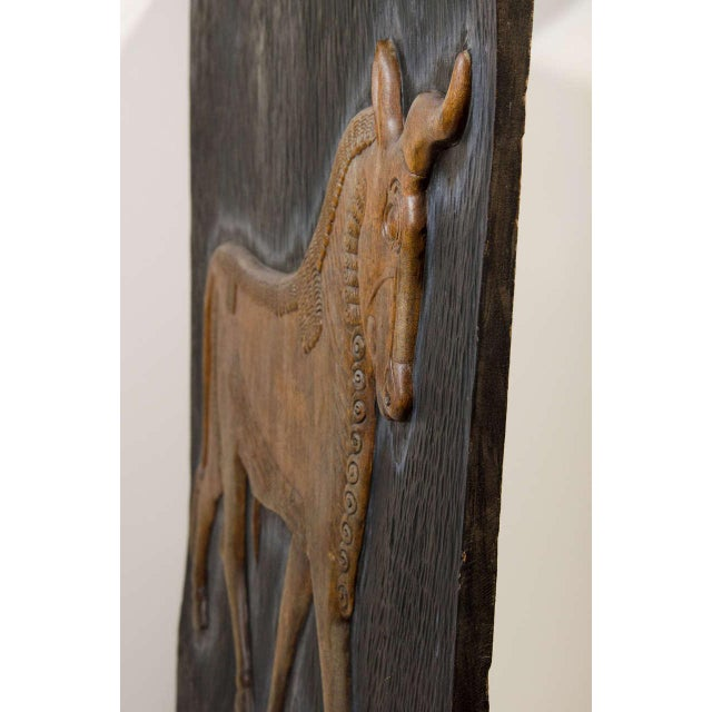 Exceptional Hand Carved Artwork Panel From the Estate of Charles Lamb For Sale - Image 9 of 11
