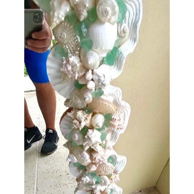 Contemporary Coastal Custom Shell and Sea Glass Mirror For Sale In Miami - Image 6 of 10