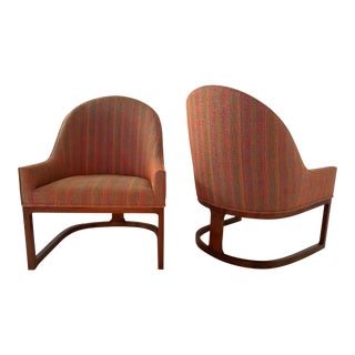 Pair Mid Century Modern Spoon Back Lounge Chairs For Sale