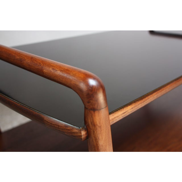 American Modern Walnut Three-Tier Rolling Bar / Tea Cart With Ebonized Surface For Sale - Image 9 of 13