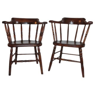 19th Century Fire House Windsor Captain's Chairs - a Pair For Sale